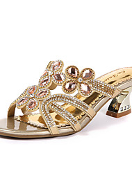 cheap -Women's Shoes Synthetic Microfiber PU Spring / Summer Comfort / Novelty / Slingback Sandals Chunky Heel Open Toe Rhinestone / Crystal