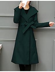 economico -Cappotto Lungo Per donna Quotidiano Vintage Casual Inverno Autunno, Tinta unita A V Poliestere Con perline