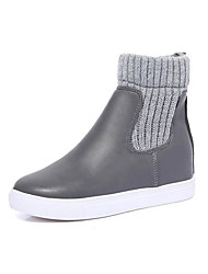 Feminino Sapatos Couro Ecológico Inverno Outono Conforto Botas Salto Plataforma Botas Curtas / Ankle para Casual Cinzento