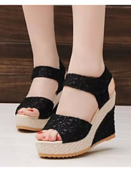 cheap -Women's Shoes Tulle Spring Fall Comfort Sandals Wedge Heel for Casual Black Beige