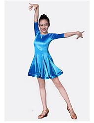 abordables -Tenues de Danse pour Enfants Robes Utilisation Mousseline de Soie Velours Volants Demi Manches Taille moyenne Robe
