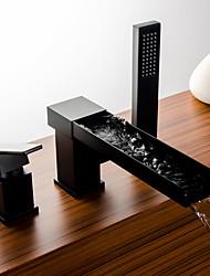 abordables -Robinet de baignoire - Jet pluie Bronze huilé Diffusion large Mitigeur Trois trous