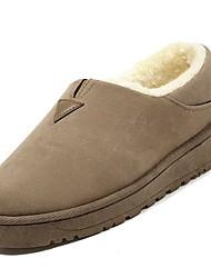 Feminino Sapatos Couro Ecológico Inverno Outono Conforto Mocassins e Slip-Ons Sem Salto Ponta Redonda para Casual Preto Cinzento Camel