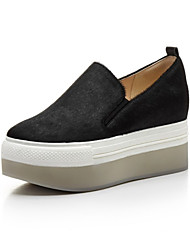 cheap -Women's Shoes Horse Hair Spring Fall Comfort Loafers & Slip-Ons Creepers Round Toe for Casual Outdoor Leopard Black