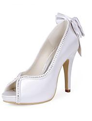 preiswerte -Damen Schuhe Seide Frühling Sommer Pumps Hochzeit Schuhe Stöckelabsatz Peep Toe Strass Schleife für Hochzeit Party & Festivität Weiß