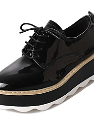 cheap -Women's Shoes PU Patent Leather Spring Fall Comfort Oxfords High Heel Round Toe for Casual Wine Black