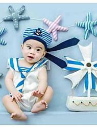bebê Unissex Conjunto Aniversário Feriado Listrado Primavera Verão Fibra Sintética Sem Manga Fofo Activo Azul