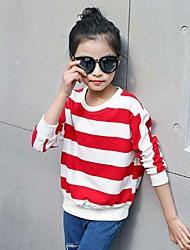 preiswerte -Mädchen T-Shirt Gestreift Baumwolle Kunstseide Frühling Herbst Einfach Schwarz Rote