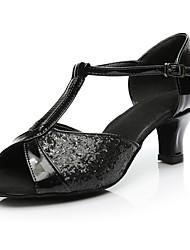 cheap -Women's Latin Shoes Paillette Sports & Outdoors / Heel Low Heel Customizable Dance Shoes Black