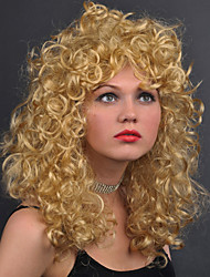 cheap -Women Synthetic Wig Medium Length Water Wave Blonde With Bangs Cosplay Wig Costume Wig