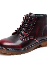 abordables -Mujer Zapatos Cuero Otoño / Invierno Botas de Moda / Botas de Combate Botas Tacón Plano Dedo redondo / Punta cerrada Marrón / Borgoña
