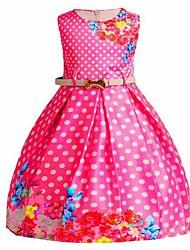 Menina de Vestido Poá Verão Raiom Poliéster Sem Manga Princesa Azul Fúcsia