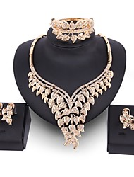 cheap -Women's Jewelry Set Oversized Statement Jewelry Wedding Party Zircon Gold Plated Alloy Leaf 1 Necklace 1 Bracelet 1 Ring Earrings