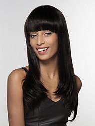 abordables -Ondulation Naturelle Fabriqué à la machine Cheveux humains Perruques Ligne de Cheveux Naturelle Long Noir Naturel Auburn Medium Auburn /