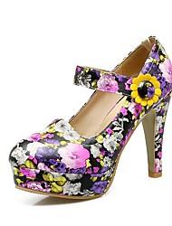 preiswerte -Damen Schuhe maßgeschneiderte Werkstoffe Frühling Herbst Pumps High Heels Blockabsatz Runde Zehe Geschlossene Spitze Schnalle für Hochzeit
