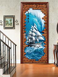 abordables -Paysage Transport Stickers muraux Autocollants muraux 3D Autocollants muraux décoratifs, Vinyle Décoration d'intérieur Calque Mural Mur
