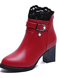 abordables -Mujer Zapatos PU Primavera Otoño Botas hasta el Tobillo Confort Botas Tacón Cuadrado Botines/Hasta el Tobillo para Casual Negro Rojo