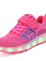 cheap -Girls' Shoes Net / Fabric Spring & Summer Comfort / Light Up Shoes Sneakers Magic Tape / LED for Blue / Pink / Black / Red