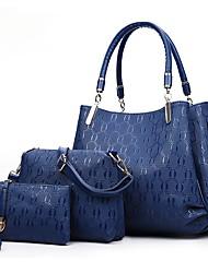 baratos -Mulheres Bolsas PU Conjuntos de saco 3 Pcs Purse Set Fru-Fru / Ziper Dourado / Preto / Vermelho