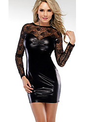 cheap -Women's Club Sexy Sheath Dress,Solid Round Neck Mini Long Sleeve PU All Season Mid Rise Micro-elastic Thick