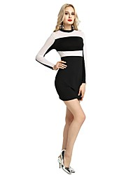 cheap -Women's Party Daily Vintage Casual Sexy Bodycon Sheath Dress,Solid Color Block Stand Above Knee Long Sleeve Rayon Polyester Spandex All