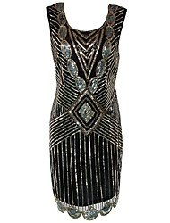 economico -Grande Gatsby Stile anni '20 Costume Per donna Vestito del flapper Vestito da Serata Elegante Abito da cocktail Nero Vintage Cosplay