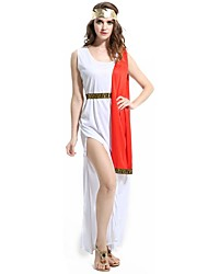 baratos -Deusa Athena Grécia antiga Ocasiões Especiais Mulheres Vestidos Vermelho/Branco Vintage Cosplay Terylene Sem Manga Até os Joelhos