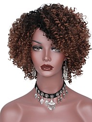 cheap -Synthetic Wig Afro Layered Haircut Dark Roots Brown Women's Capless Natural Wigs Short Synthetic Hair