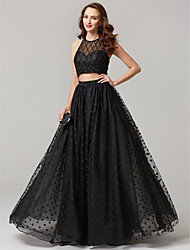 cheap -A-Line Jewel Neck Floor Length Tulle Formal Evening Dress with Lace Sequins by TS Couture®