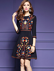 cheap -Women's Vintage Street chic A Line Dress - Patchwork