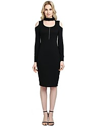 cheap -Women's Party Daily Vintage Casual Sexy Bodycon Sheath Dress,Solid U Neck Knee-length Above Knee Long Sleeve Rayon Polyester Spandex All