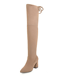 cheap -Women's Shoes Fleece Winter Fall Fashion Boots Slouch Boots Boots Chunky Heel Pointed Toe Over The Knee Boots for Dress Party & Evening