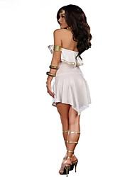 economico -Punk Grecia antica Donna Un Pezzo Vestiti Cosplay Bianco Ad aletta Senza maniche Corto / mini