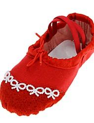 baratos -Sapatilhas de Balé Lona Sapatilha Pérolas Sem Salto Personalizável Sapatos de Dança Vermelho
