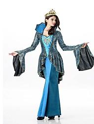 Lolita Clássica e Tradicional Grécia antiga Feminino Uma Peça Vestidos Cosplay Verde Escuro Borboleta Manga Longa Até o Tornozelo