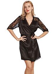 cheap -Women's Satin & Silk Pajamas,Solid Jacquard Opaque Thin Polyester Imitation Silk White Black