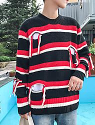 Pánské Denní nošení Standardní Rolák Jednobarevné,Dlouhý rukáv Kulatý Bavlna Akryl Zima Střední strenchy