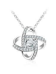 cheap -Women's Synthetic Diamond Pendant Necklace - Fashion Sweet Korean Geometric Silver Necklace For Gift Daily