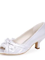 preiswerte -Damen Schuhe Seide Frühling Sommer Pumps Hochzeit Schuhe Stöckelabsatz Peep Toe Schleife für Hochzeit Party & Festivität Weiß