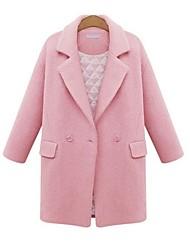 Недорогие -Жен. Пальто V-образный вырез Однотонный Чистый цвет