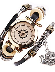 abordables -Mujer Cuarzo Reloj de Pulsera Chino Cronógrafo Reloj Casual PU Banda Vintage Casual Reloj creativo único Moda Navidad Negro Blanco Azul