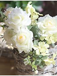 Недорогие -1 Филиал Полиэстер Розы Цветы на стену Искусственные Цветы