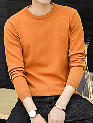 cheap -Men's Casual/Daily Simple Regular Pullover,Solid Round Neck Long Sleeve Polyester Winter Fall Thin Micro-elastic