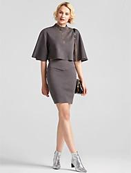 preiswerte -Damen Boho Schmetterling Ärmel T-shirt - Solide Ständer Hohe Hüfthöhe Rock