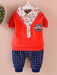 cheap -Boys' Daily Going out Solid Cartoon Clothing Set, Cotton All Seasons Long Sleeves Cute Casual Active Blue Orange