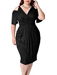 abordables -Femme Grandes Tailles Sortie Chic de Rue Gaine Robe Couleur Pleine Col en V Midi Noir