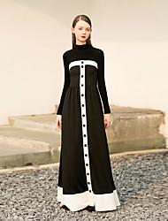 levne -Dámské Shift Šaty - Barevné bloky Maxi Bez ramínek Vysoký pas