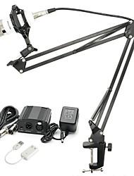 baratos -KEBTYVOR BM700 Com Fio Microfone Conjuntos Microfone Condensador Profissional Para Computadores e Notebooks
