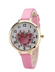cheap -Women's Fashion Watch Dress Watch Wrist watch Chinese Quartz Casual Watch PU Band Heart shape Casual Black White Blue Red Brown Pink