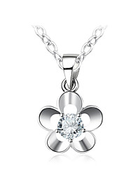cheap -Women's Geometric Flower Korean Sweet Fashion Pendant Necklace Synthetic Diamond Copper Glass Pendant Necklace , Gift Daily